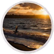 Golden Wings Golden Water Round Beach Towel