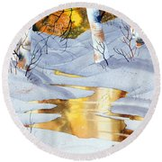 Round Beach Towel featuring the painting Golden Winter by Teresa Ascone