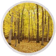 Golden Woods Round Beach Towel