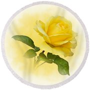Golden Yellow Rose Round Beach Towel