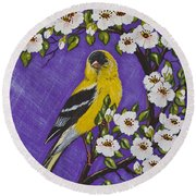 Goldfinch In Pear Blossoms Round Beach Towel