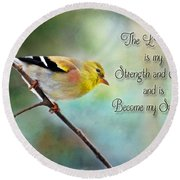 Goldfinch With Rosy Shoulder - Digital Paint And Verse Round Beach Towel