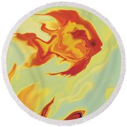 Goldfish 1 Round Beach Towel by Rabi Khan