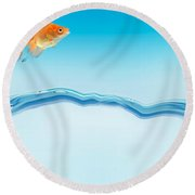 Goldfish Jumping Out Of Water Round Beach Towel