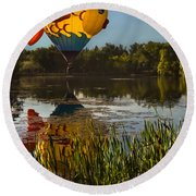 Goldfish Reflection Round Beach Towel