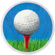 Golf Ball And Tee Round Beach Towel