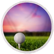 Golf Ball On Tee At Sunset Round Beach Towel