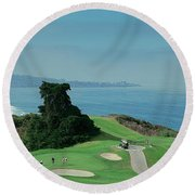 Round Beach Towel featuring the photograph Golf Course At The Coast, Torrey Pines by Panoramic Images