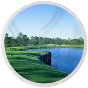 Golf Course At The Lakeside, Regatta Round Beach Towel by Panoramic Images