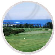 Golf Course At The Oceanside, Kapalua Round Beach Towel