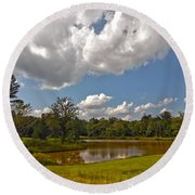 Round Beach Towel featuring the photograph Golf Course Landscape by Alex Grichenko