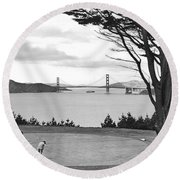 Golf With View Of Golden Gate Round Beach Towel