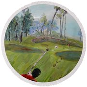 Golfing At Monarch Round Beach Towel