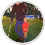 Round Beach Towel featuring the painting Golfing by Donald J Ryker III