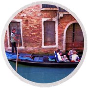 Round Beach Towel featuring the photograph Gondola 4 by Allen Beatty