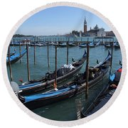Round Beach Towel featuring the photograph Gondola's - Grand Canal - Venice by Phil Banks