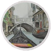Round Beach Towel featuring the painting Gondola Venice Italy by Malinda  Prudhomme