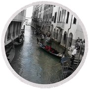 Round Beach Towel featuring the photograph Gondolier by Laurel Best