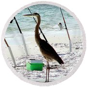 Round Beach Towel featuring the photograph Gone Fishing by Debra Forand