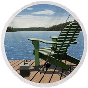 Round Beach Towel featuring the painting Gone Fishing by Kenneth M Kirsch