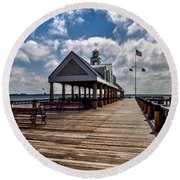 Round Beach Towel featuring the photograph Gone Fishing by Sennie Pierson