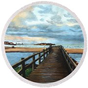 Good Harbor Beach Gloucester Round Beach Towel by Eileen Patten Oliver