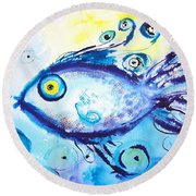 Good Luck Fish Abstract Round Beach Towel