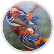 Good Luck Mandarins Round Beach Towel by Loretta Luglio