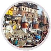 Good Morning Ganga Ji 2 Round Beach Towel