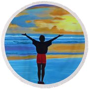 Good Morning Morning Round Beach Towel