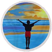Round Beach Towel featuring the painting Good Morning Morning by Deborah Boyd