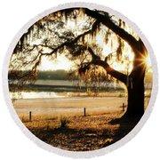 Good Morning Mossy Oak Round Beach Towel
