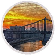 Good Morning New York Round Beach Towel