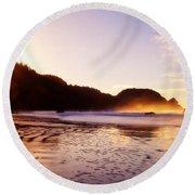 Good Morning Oregon Round Beach Towel