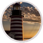 Good Morning West Quoddy Head Lighthouse Round Beach Towel