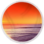 Good Night Sun Round Beach Towel