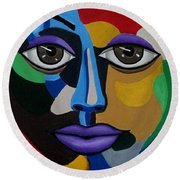 Colorful Illusion Abstract Face Art Painting, Big Brown Eye Art, Optical Artwork Round Beach Towel