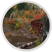 Round Beach Towel featuring the photograph Gooseberry Bridge by James Peterson
