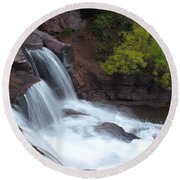 Round Beach Towel featuring the photograph Gooseberry Falls In Slow Motion by James Peterson
