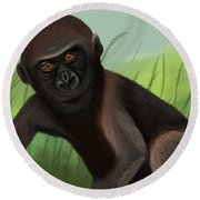 Gorilla Greatness Round Beach Towel