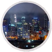 Gotham City - Los Angeles Skyline Downtown At Night Round Beach Towel