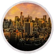 Round Beach Towel featuring the photograph Gotham Sunset by Chris Lord