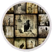 Gothic And Crows Round Beach Towel