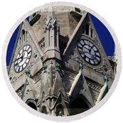 Gothic Church Clock Tower Spire Round Beach Towel