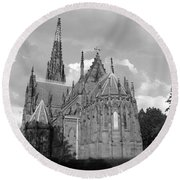 Gothic Church In Black And White Round Beach Towel by John Telfer