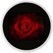 Round Beach Towel featuring the digital art Gothic Red Rose by Absinthe Art By Michelle LeAnn Scott
