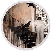 Gothic Grim Reaper With Ravens Crows - Spooky Haunting Surreal Gothic Art Round Beach Towel by Kathy Fornal