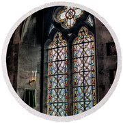 Gothic Window Round Beach Towel