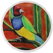 Round Beach Towel featuring the painting Gouldian Finch by Jeanne Fischer