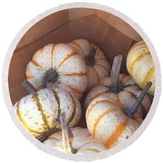 Round Beach Towel featuring the photograph Gourd Harvest by Denyse Duhaime